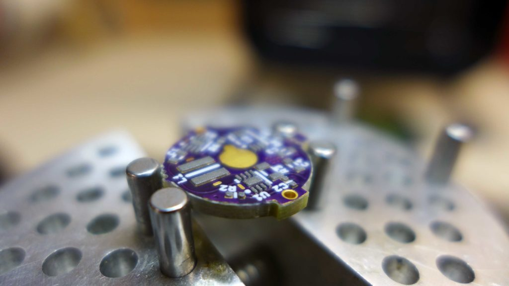 Solder paste applied to PCB.