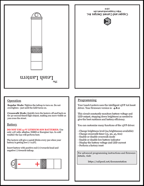 Leash Lantern Simple Instruction manual